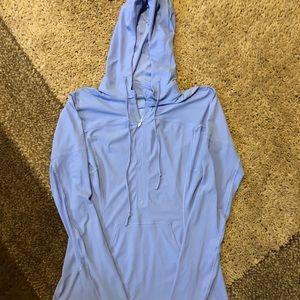 Lululemon Blue Quarter Zip Hooded Shirt